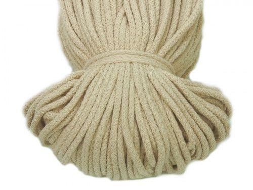 Sznurek bawełniany 5mm bez rdzenia naturalny 100m