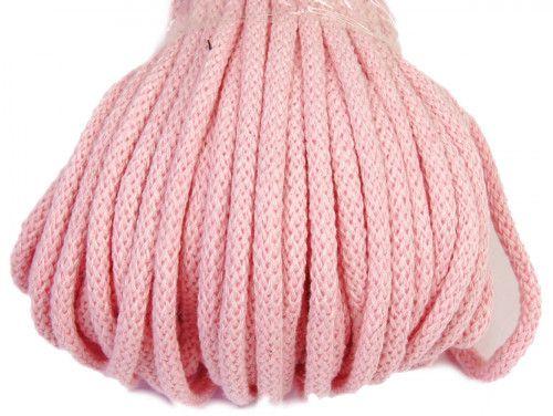 Sznurek bawełniany 5mm różowy jasny 50m