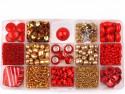 Zestaw koralików czerwonych i złotych