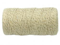Sznurek bawełniany skręcany 1,5mm naturalny ze złotą nitką 100m
