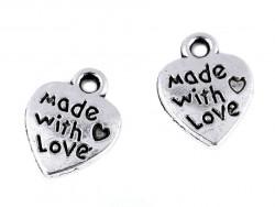 Zawieszka metalowa serce MADE WITH LOVE