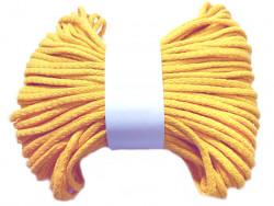 Sznurek bawełniany pełny 5mm żółty 50m