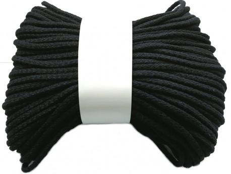 Sznurek bawełniany pełny 5mm czarny 50m