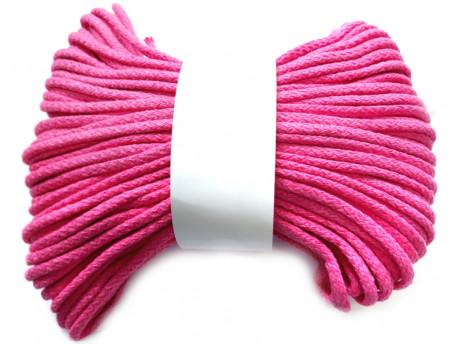 Sznurek bawełniany pełny 5mm różowy amarantowy 50m