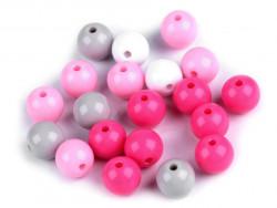 Koraliki kulki 9mm różowe szare białe 20szt. błyszczące