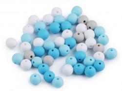 Koraliki kulki 7,5mm niebieskie szare białe 50szt.matowe