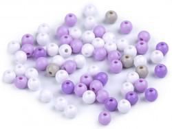 Koraliki kulki 5mm fioletowe szare białe 100szt. błyszczące