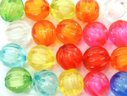 Koraliki kulki w prążek 14mm mix kolorów 20szt