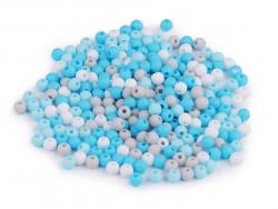 Koraliki kulki 3mm niebieskie szare białe ok. 700szt. matowe