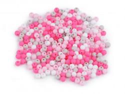 Koraliki kulki 3mm różowe szare białe ok. 700szt. matowe