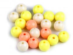 Koraliki kulki 9mm żółte morelowe perłowe 20szt. błyszczące