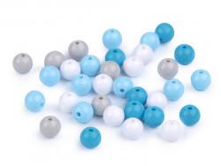 Koraliki kulki 7,5mm niebieskie szare białe 50szt. błyszczące